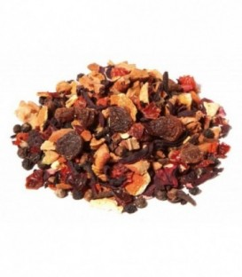 Saveur cannelle-orangeIngrédients:Pomme*, hibiscus*, raisin (raisin, huile végétale)*, écorces d'orange*, cyno