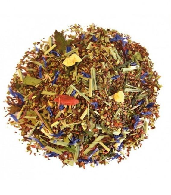 Saveur pêche-citronIngrédients:Rooibos naturel* (44%), maté vert*, citronnelle*, thé vert de Chine Sencha* (11