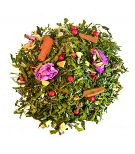 Saveur orange douce-cannelleIngrédients:Thé vert de Chine Sencha*, racine de réglisse*, bâtons de cannelle*, é