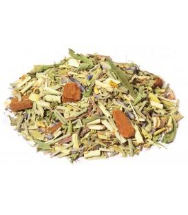 Saveur romarin-thym-citronIngrédients:Citronnelle*, bâtons de cannelle*, verveine*, romarin*, thym*, feuilles