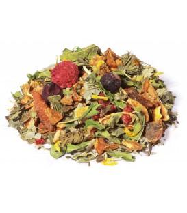Saveur citron-mangueIngrédients:Pomme*, feuilles de mûre*, coing*, rooibos vert*, verveine*, souci*, arôme nat