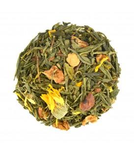 Saveur amande-vanilleIngrédients:Thé vert de Chine Sencha*, pomme*, bâtons de cannelle*, gingembre*, arôme nat