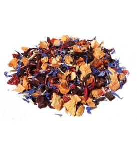 Saveur sureau-vanille Pomme*,hibiscus*,cynorrhodon*,arôme naturel, baie de sureau*(3%),bourbon vanille*(1%).