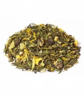 Saveur mandarine-pamplemousseIngrédients:Thé vert de Chine Sencha*, arôme naturel, écorces d'orange*, mélisse*