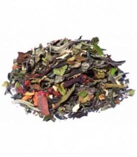 Saveur orange-cannelleIngrédients:Thé vert China Chun Mee*, thé blanc Pai Mu Tan*, pomme*, bâtons de cannelle*