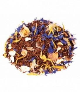 Saveur mangue-orangeIngrédients:Rooibos naturel*, arôme naturel, souci*, écorces d'orange*, fleurs de bleuet*,